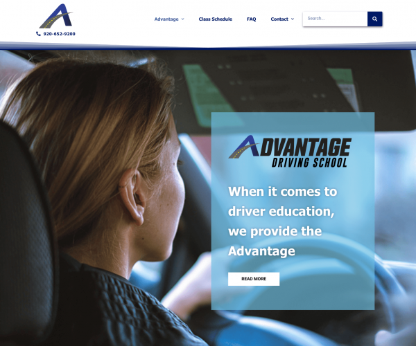 Advantage Driving School landing page_